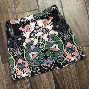 Topshop Floral Botanical Tapestry Mini Skirt Sz 4
